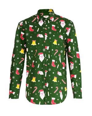 緑のクリスマス「Santaboss」シャツ - Opposuits