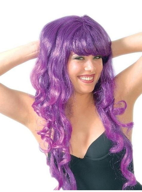Вълнообразна перука с лилави ивици