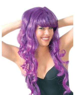 Perruque ondulée à mèches couleur violettes