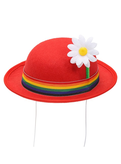 Red bowler hat with flower