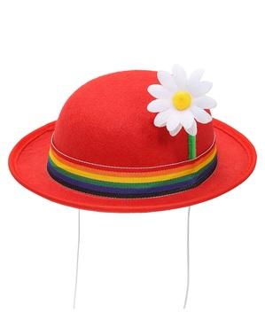 Rund hatt röd med blomma