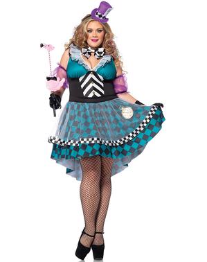 Verrückter Hutmacher Kostüm für Damen in großer Größe