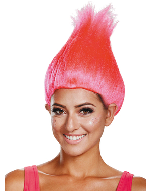 Peruca de Trolls cor-de-rosa para adulto