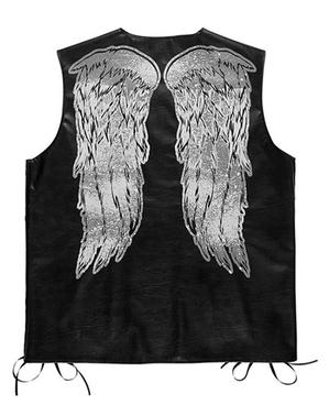Motorrijder vest met vleugels voor mannen