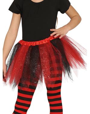 Tyllkjol röd och svart med glitter barn
