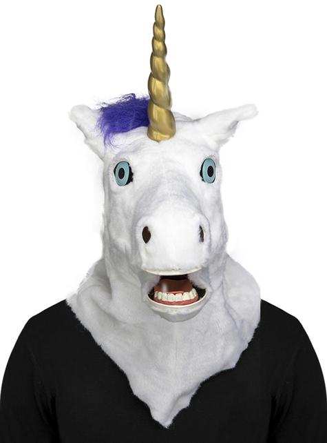 Máscara de unicornio moving mouth para adulto