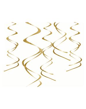 5 suspensions spirales dorées - Hanging décorations Swirls