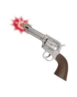 Pistola de cowboy com luz e som