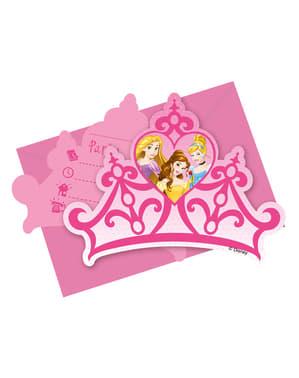 Sett med 6 Drømmende Prinsesse Invitasjoner