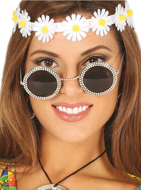 Óculos hippies com brilhantes para mulher