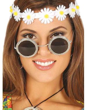 Gafas hippies con brillantes para mujer