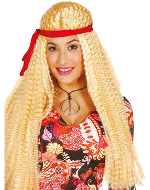 Blonde hippie pruik met band voor volwassenen