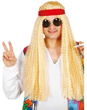 Peluca hippie rubia con cinta para adulto
