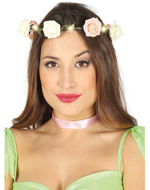 Crown with pink flowers and lights
