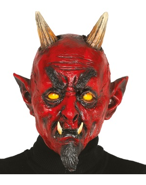 Hellish demon latex mask for adults