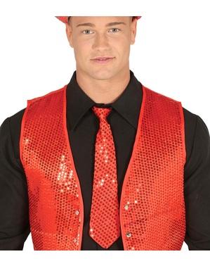 Cravatta di paillettes rossa per adulto