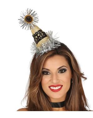 Čelenka se zlatým kloboukem Happy new year pro dospělé