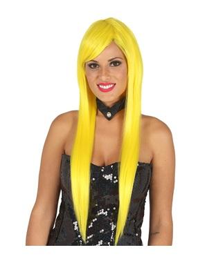 Peluca con flequillo amarilla lisa para mujer