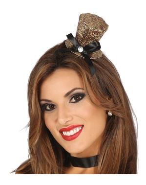 Diadem złoty z mini kapeluszem damski