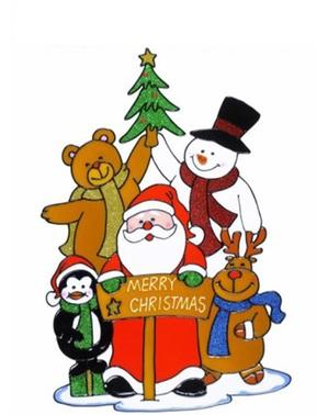 Abțibild pentru fereastră familia lui Moș Crăciun