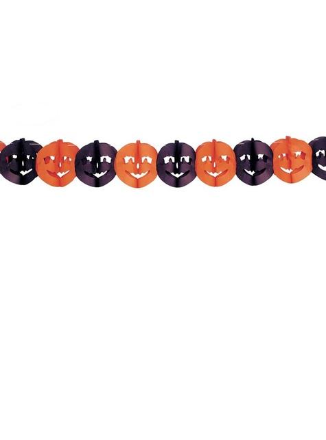 Grinalda com abóboras cor de laranja e pretas