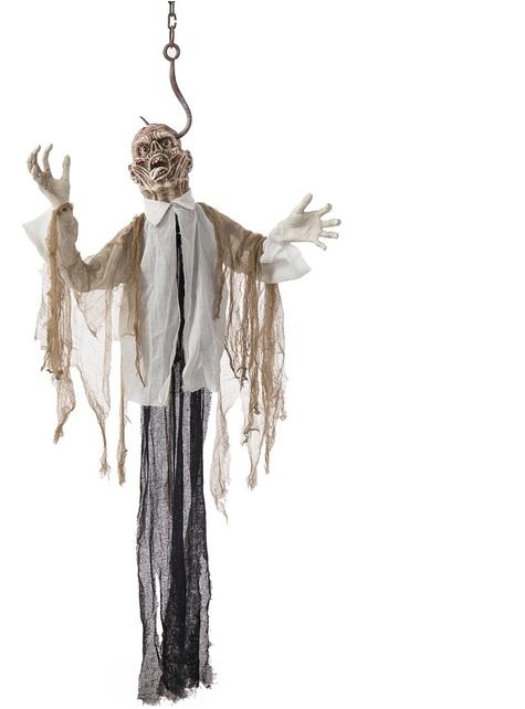 Figura colgante de zombie ahorcado con luz, sonido y movimiento (180cm)