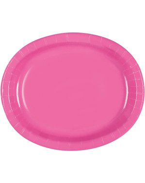 8 pink oval trays - Basic Colours Line
