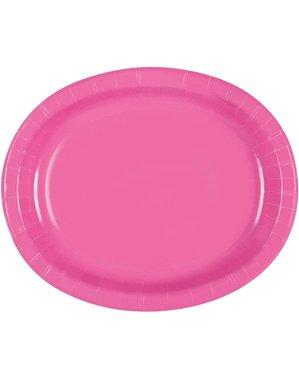 Zestaw 8 różowych owalnych tacek - Linia kolorów podstawowych