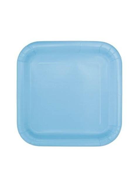 14 platos cuadrados azul cielo (23 cm) - Línea Colores Básicos
