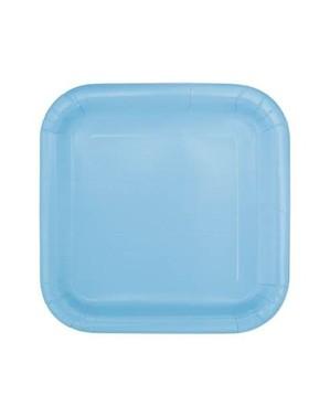 Sett med 14 himmelblå firkantede tallerkener - Grunnleggende Farger Kolleksjon