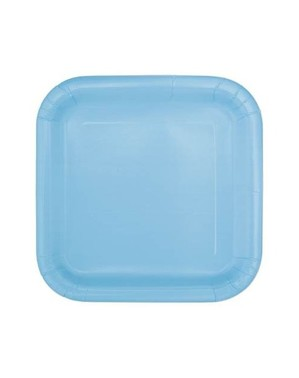 Zestaw 14 błękitnych kwadratowych talerzy - Linia kolorów podstawowych