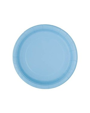 8 hemelsblauwe dessert borde (18 cm) - Basis Kleuren Lijn