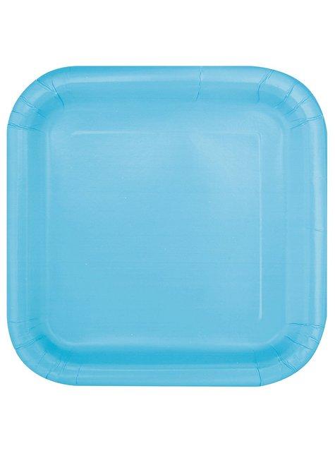 16 assiettes carrées à dessert bleu ciel - Gamme couleur unie