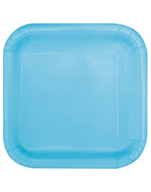 16 fyrkantiga desserttallrikar himmelsblå (18 cm) - Kollektion Basfärger