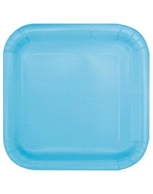 Sett med 16 firkantete himmelblå dessert tallerkener - Basic Line Colours