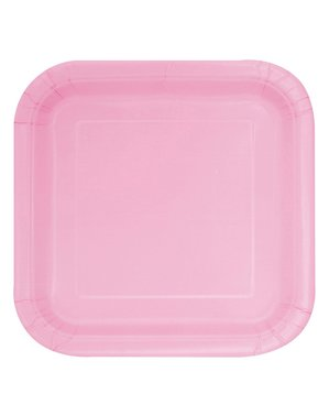 16 square light pink dessert plate (18 cm) - Basic Line Colours
