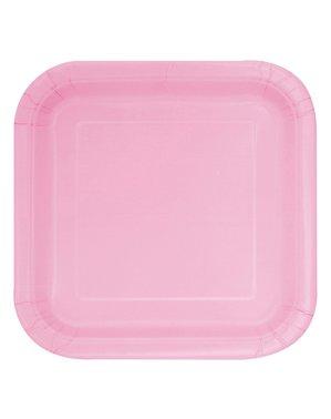 Sett med 16 firkantete lys rosa dessert tallerkener - Basic Line Colours