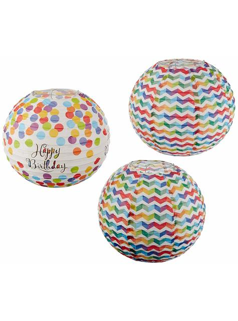 3 Colourful Polka Dots hanging decorative spheres