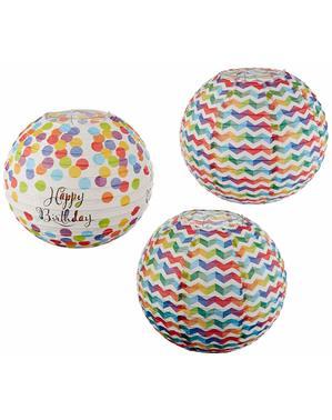 3 sfere pendenti decorarative con pois a colori