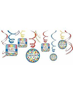 Kit de 12 decoraciones colgantes de lunares de colores