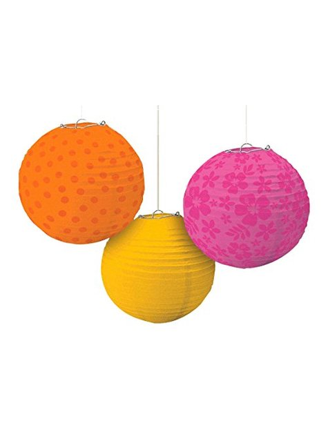 3 decorative hanging spheres with warm coloured patterns
