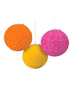 3 esferas decorativas de pendurar estampadas cores quentes