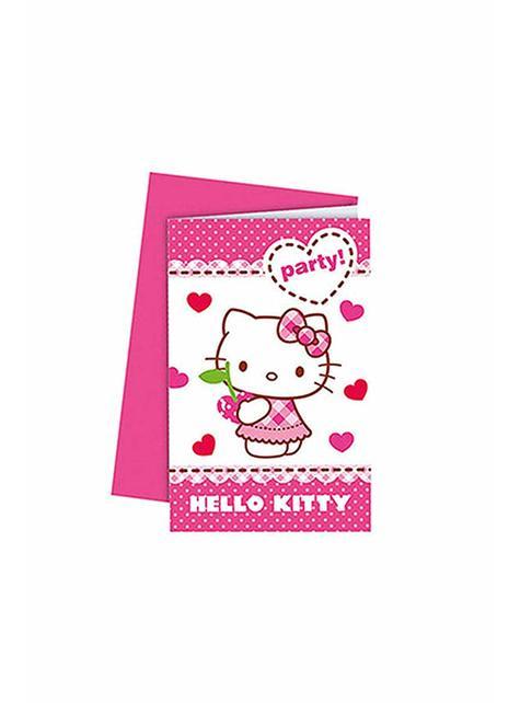 6 Hello Kitty uitnodigingen - Hello Kitty Hearts