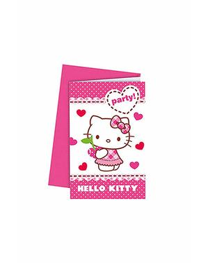 6 Hello Kitty Einladungen - Hello Kitty Hearts