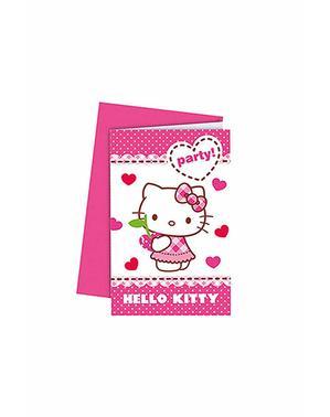 6 Hello Kitty Invitasjoner - Hello Kitty Hearts