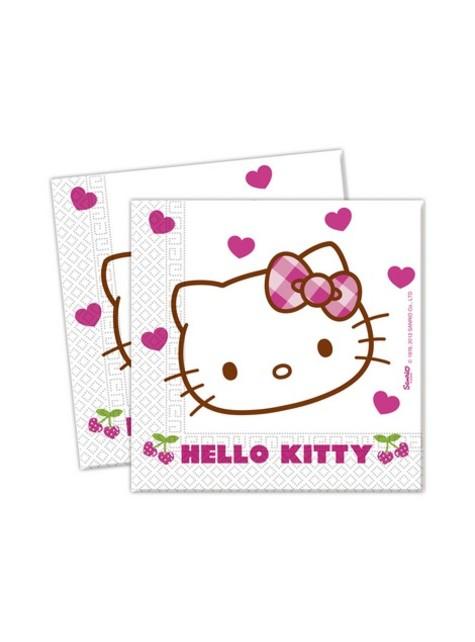 20 șervețele Hello Kitty (33x33cm) - Hello Kitty Hearts