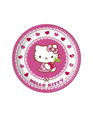8 Hello Kitty Plates (23cm) - Hello Kitty Hearts