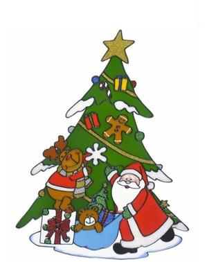 Samolepka na okno vánoční stromek