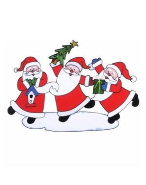 Naklejka na okno tańczące Święte Mikołaje