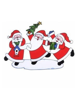 Raamsticker dansende kerstmannen